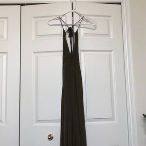 Long maxi olive green dress.